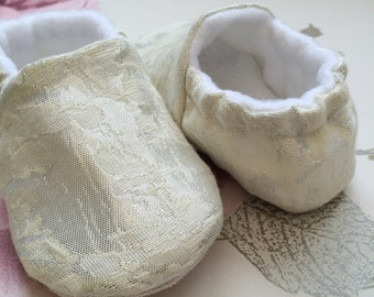ivory brocade baby girls shoes