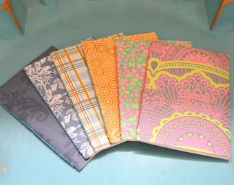 A6 Patterned Sketchbook Notebook Floral Flowers Tartan Honeycomb Mandala