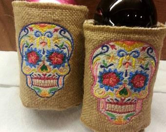 Sugar Skull Burlap Drink Wrap