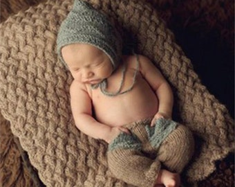 Handmade Knitted Newborn Baby Photography Props Hat And Pants Set For 0-3 Months Babies