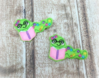 Bookworm Hair Clips,  Girls Hair Clips, Toddler Hair Clips, Felt Hair Clips, Feltie Hair Clips, Pig Tail Clips, Pony Tail Clips