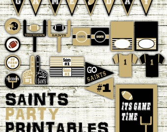 Saints Football Party Printables and Decorations - Printable - 15 Pages in PDF Format - INSTaNT DOWNLoAD