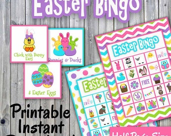 Easter Bingo Game - Printable PDF - 30 different Cards - Half Page Size - Memory Game - Party Game Printable - INSTANT DOWNLOAD