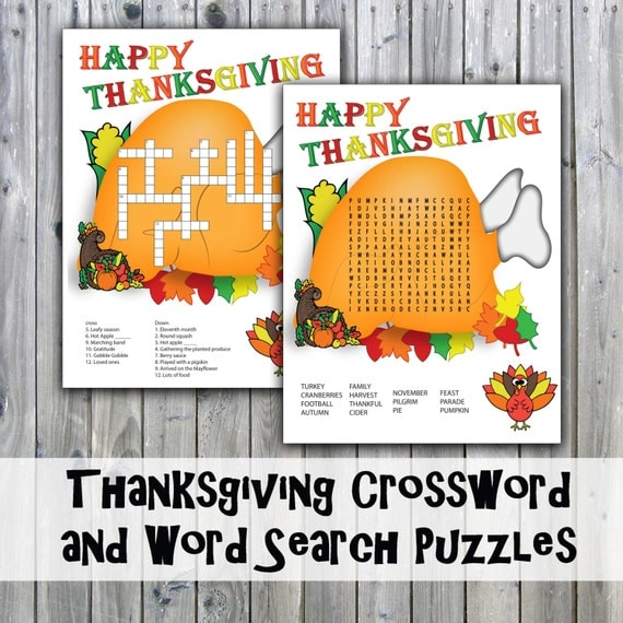 Thanksgiving Crossword Puzzle and Word Search Party Game