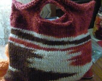 """Hand knit """"buttonhole bag"""", boho bag, hobo bag, knit purse, boho style"""