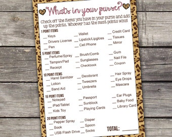 Leopard Print Whats in Your Purse Baby Shower Game - Girl Baby Shower Games - Activities - Baby-118
