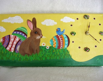 Easter Bunny Clock and Original Acrylic Painting on 7 X 14 Inch Canvas