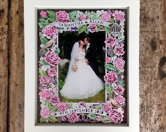 Personalised Papercut Photo Frame Template for Wedding Day / First Wedding Anniversary Celebration Gift by Samantha's Papercuts