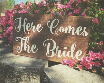 Double Sided Here Comes The Bride sign, rustic wedding sign, Wedding Sign, Wedding Ceremony sign, Established Sign, Here Comes The Bride