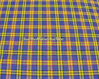 Checkered Mini-Plaid Multi-Color HomeSpun Fabric~by the 1/2 yard~Lt Grape-red~black & golden yellows color~Primitives~Crafts