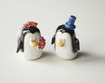 Penguin Wedding Cake Topper, Love Bird, Wedding Cake Decor, Cake Topper by Her Moments, Ceramics and Pottery