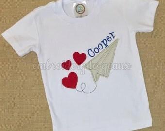 Valentine's Day Shirt for Boys, Boys Valentine Shirt, Valentines Day Paper Airplane Shirt, Baby Boy Valentines Day, Toddler Valentines Shirt