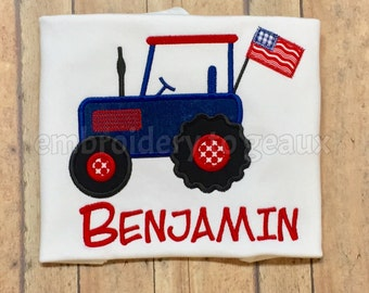 Red, White and Blue Patriotic Tractor July 4  Child's T-shirt or Bodysuit, Boys July 4th Shirt, July 4th Shirt, Children's July 4th Shirt