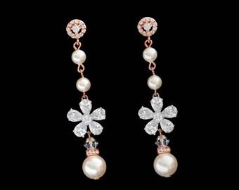 Statement Wedding Earrings Rose Gold Silver Rhinestone Earrings, Swarovski Pearls Crystal Wedding Jewelry - Vintage Inspired Bride Jewelery