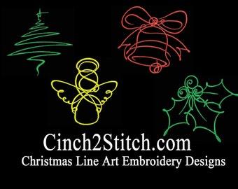 "Christmas Line Art Machine Embroidery Design Download (4"" x 4"" Hoop)"