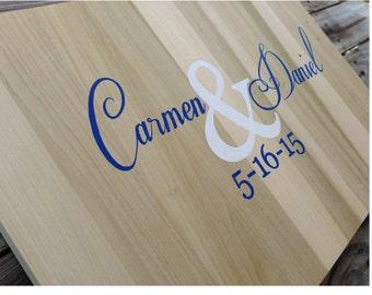 Rustic Wedding Guest Book Alternative Wood Sign, Wedding Guest Book Idea Wood Guest Book Gift with Decorative Pen