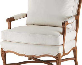 French Country Accent Chair Furniture Frame-Custom Made to Your Style, with down wrap cushion and back cushion