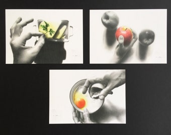 """Set of 3 postcards of the series """"A table"""""""