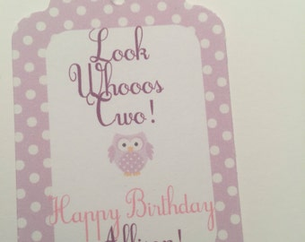 Set of 25 Personalized Look Whoooos Birthday Pink Purple Gift Tags Favor Tags