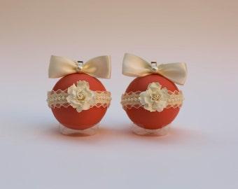 "2 Shabby Chic Floral Christmas Ornaments 2 3/8"" (6 cm). Christmas Ornaments Handmade. Personalised Christmas ornaments. Wedding ornaments"