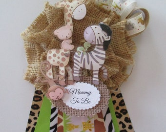 Captivating Safari Mommy To Be Baby Shower Corsage, Jungle Baby Boy Shower Corsage/Baby  Shower