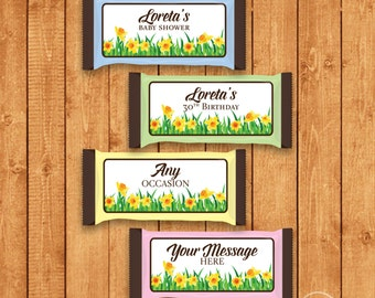 Customized Spring Candy Bar Wrapper for Hershey Bars - You Print