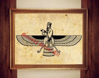 Ahura Mazda print, Ormuzd poster, Faravahar decor, God of Zoroastrianism art, Iranian art #310