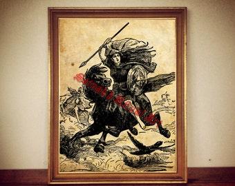Ride of the Valkyrie print, norse illustration, nordic mythology poster, Odin, Valhalla #211