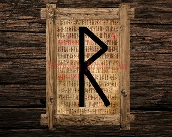 Raidho print, rune illustration, Elder Futhark art, viking home decor, magical illustration, nordic home, magic, occult canvas poster #339.5