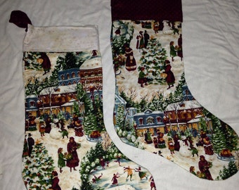Christmas primitive / country/ rustic set of 2 stockings