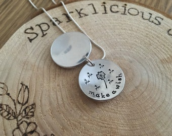 Hand stamped 'Make a Wish' Clam pendant necklace with silver plated 18inch chain.