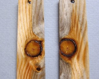 Unique Glowing Pine, Exotic Wood Earrings Long, Dangle, Large ExoticwoodJewelryAnd