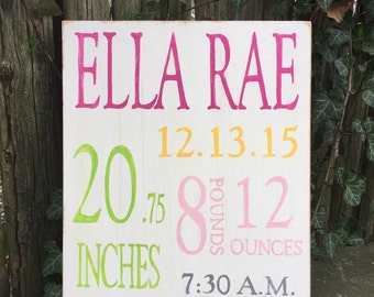 Baby girl painted wood sign