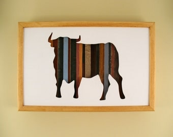 "Bull - 17"" by 11"" Recycled Wood Silhouette Wall Art"