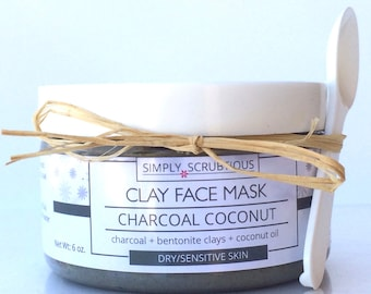 ACTIVATED CHARCOAL Clay Face Mask-Facial Mask-Coconut Face Mask-Face Cleanser-Mud Mask-Charcoal Mask-Coconut Face Scrub- 3 oz.