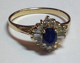 Vintage Genuine Sapphire and Diamond Ring Set in 14k Gold