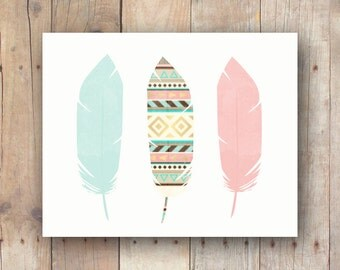 Tribal feathers art printable - boho wall print - Southwestern decor - instant download