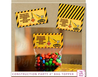 """Construction Party Bag Topper Make your own loot bags. 4"""" wide. Digital Instant Download. Great for party favors."""