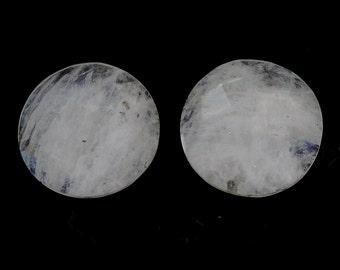 14.00cts Rainbow Moonstone Gemstone 100% Natural Round Checker Cut 15mm Pair 114/12