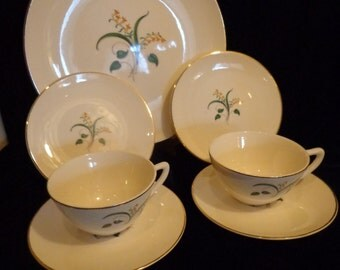 Knowles China Dishes, Forsythia Pattern, Gold Gilded Mid Century Dishes, 7 Piece Set of Knowles Forsythia Dishware