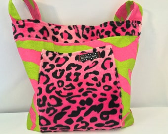 Pink & Green with Leopard Faux Fur Girls Tote Bag