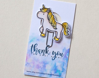 Gold Unicorn Laminated Clip, Paper Clips, Bookmarks