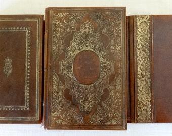 3 Vintage Books in Stunning Caramel Brown Leather Bindings, Gilt, Tudor Henry VIII Great Harry, Jules Verne, American Minds, Decorator, Exc!