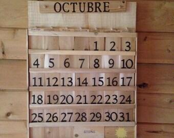 Spanish - English calendar