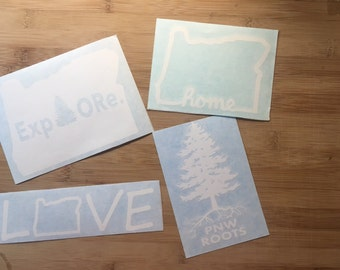 Oregon Sticker Pack - Explore Oregon - PNW Roots - OR Home - Love OR - All white - Decal