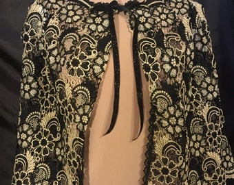 Black and Gold Lace Shawl