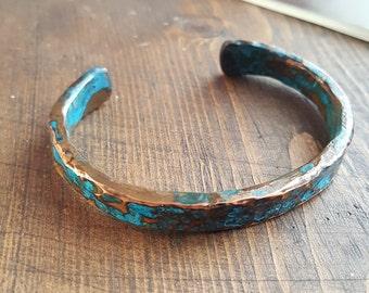 Blue Patina Copper Bangle