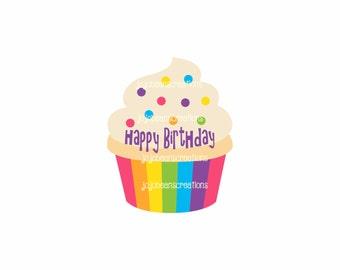 Happy Birthday Cupcake Sticker