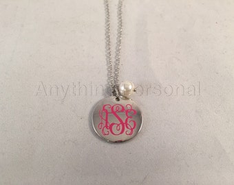 Monogrammed Silver Disc Necklace, Personalized Necklace, Personalized Jewelry, Personalized Gift, Monogram Gift, Silver Necklace