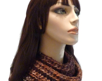 Cowl, Infinity Scarf, Brown Veragated Cowl, Crochet Neck Warmer, Crochet Cowl
